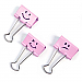 """Victor Emoji Design Binder Clips - 0.30"""" (7.62 mm) Length x 1.40"""" (35.56 mm) Width - for Classroom, Office - Durable - 20 / Pack - Pink"""
