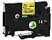 """Brand New Compatible P-touch TZe 1"""" Laminated Tape Cartridge - 15/32"""" Width x 26 1/4 ft Length - Rectangle - Thermal Transfer - Black on Yellow - 1 Each"""