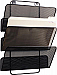 Mesh 3 slot wall file. Can be mounted to an office wall. Can be used to hold either letter or legal size file folders.