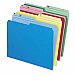 Letter Size Top Tab Assorted Color File Folders - Half Cut - 100/box (25 x Blue/Yellow/Red/Green)