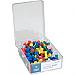 "Business Source 1/2"" Head Push Pins - 0.50"" (12.70 mm) Head - 100 / Box - Assorted - Steel"